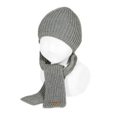 Mützen-Schal in grau