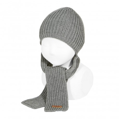 Mützen-Schal im grau