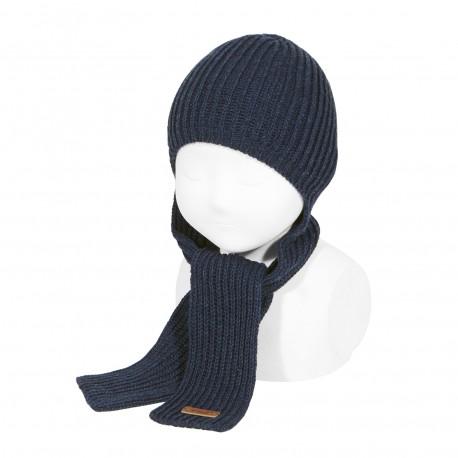 Mützen-Schal in dunkelblau