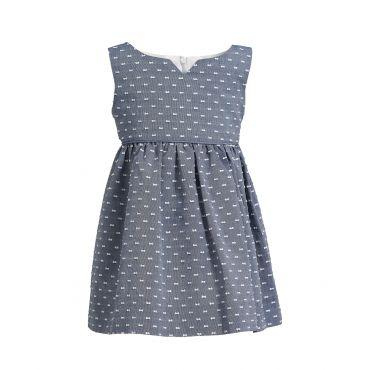 Plumetis-Kleid in Blau