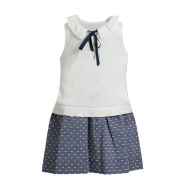 Plumetis-Kleid in Blau-Weiß