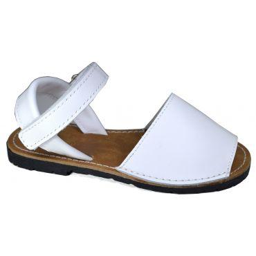 Menorquinas Sandalen mit Klettverschlussin Weiß